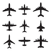 Airplane icons set isolated on white background. Vector silhouettes of passenger aircraft, fighter plane and screw.