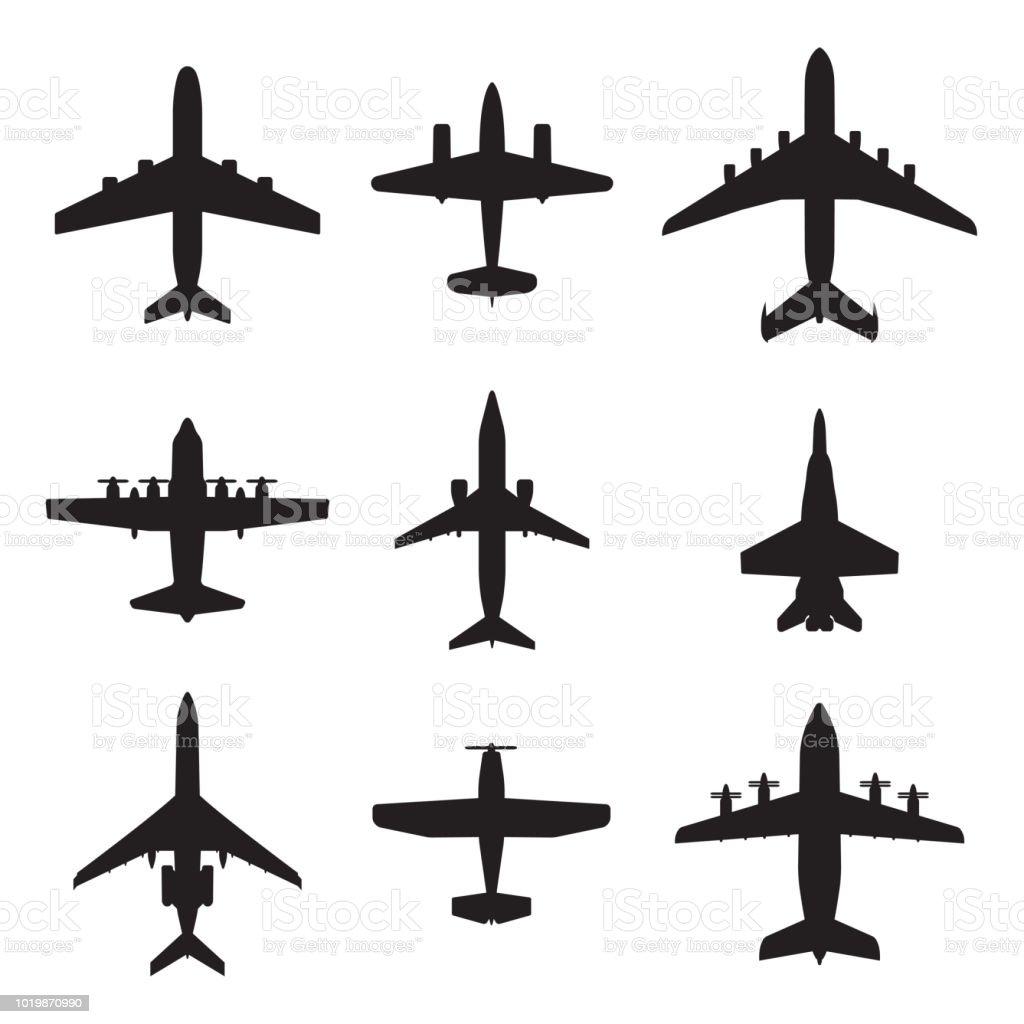 Conjunto de iconos de avión. Siluetas de aviones. Ilustración de vector. - ilustración de arte vectorial