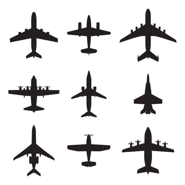 Plane icon set. Airplane silhouettes. Vector illustration. Airplane icons set isolated on white background. Vector silhouettes of passenger aircraft, fighter plane and screw. fighter plane stock illustrations
