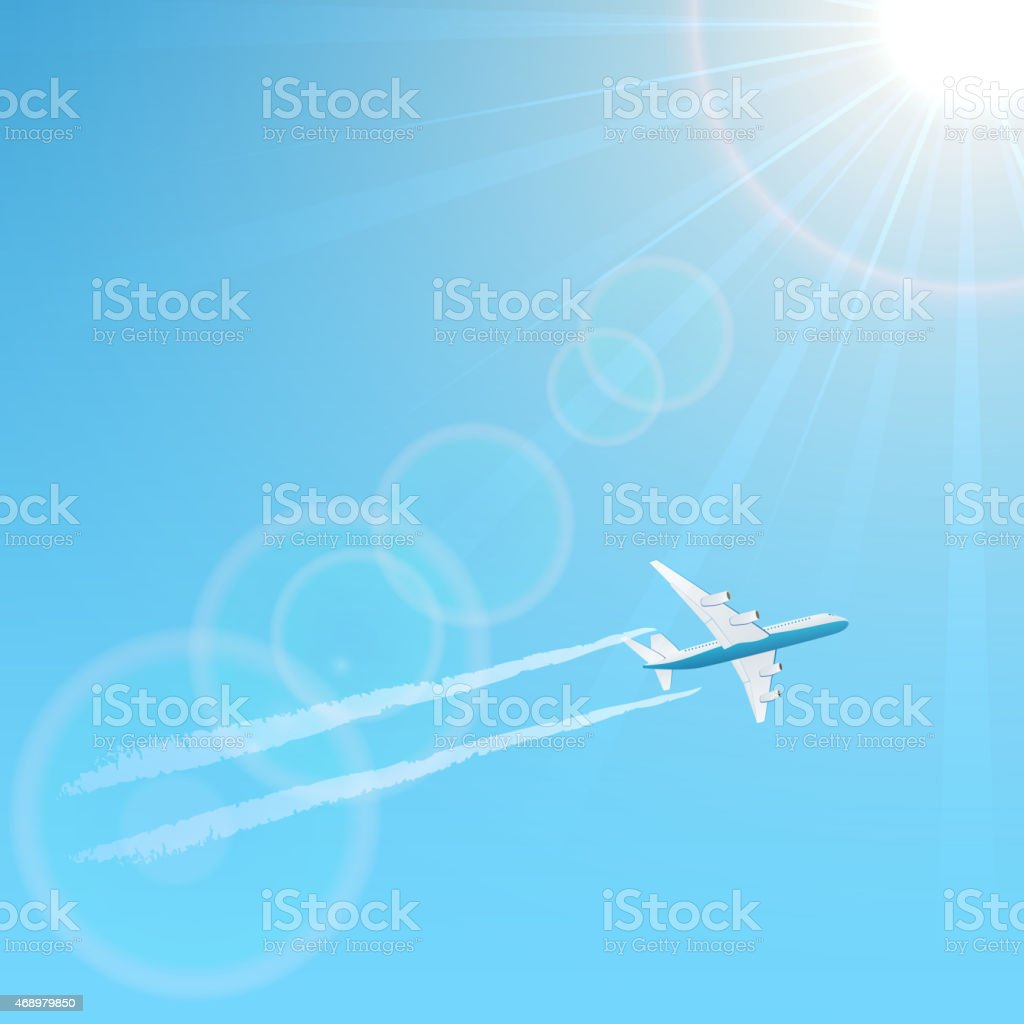 Plane in the sky vector art illustration