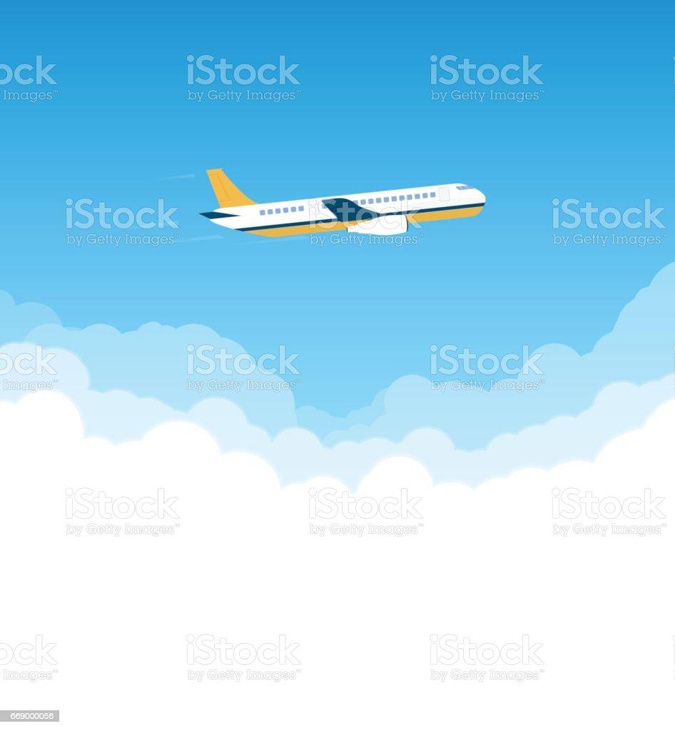 Flugzeug am Himmel – Vektorgrafik