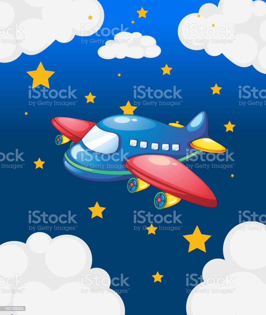 plane in the sky with many stars royalty-free stock vector art