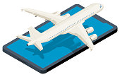 Isometric airplane taking off on smartphone.