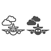 Plane line and solid icon, Public transport concept, Plane in the clouds sign on white background, airplane symbol in outline style for mobile concept and web design. Vector graphics