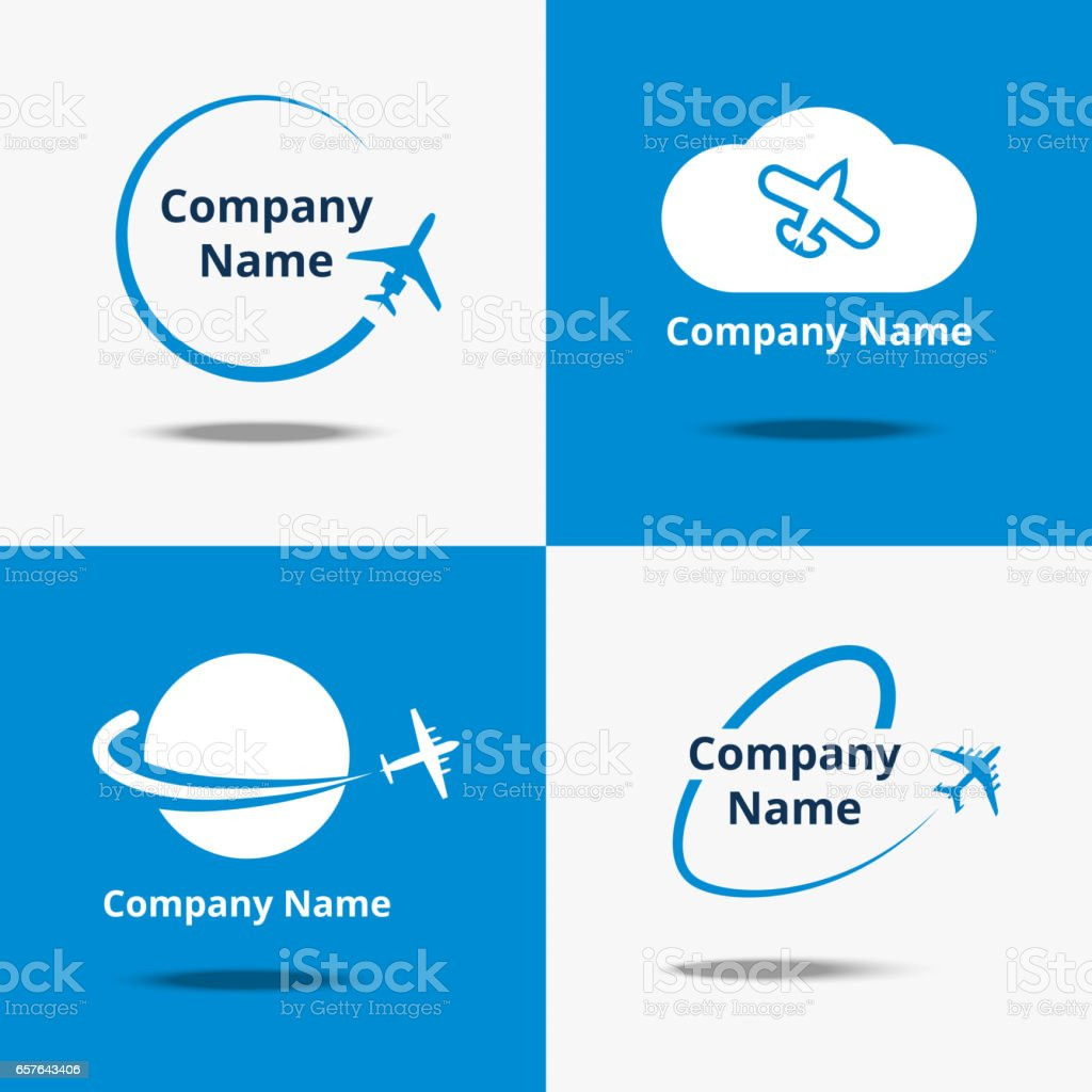 Plane logo set. Vector air travel logos or flight airplane travelling signs with blue background vector art illustration