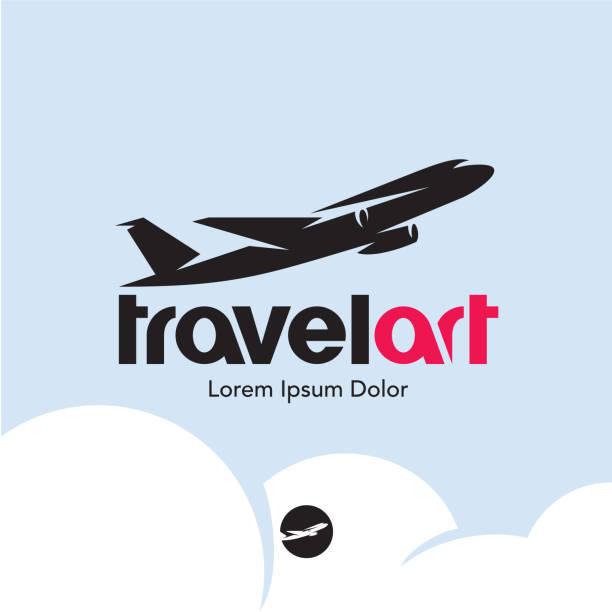 plane logo. travel - commercial airplane stock illustrations