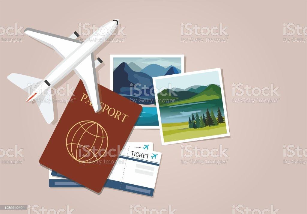 Plan modell med resor instant fotografier, pass och biljetter. Resor-konceptet vektorkonstillustration
