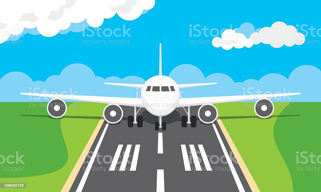 Plane on an airport runway vector art illustration