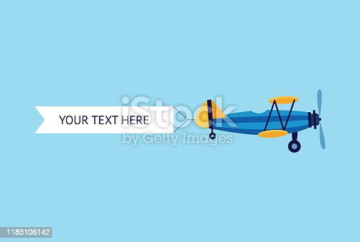 istock Plane or biplane with the ribbon banner flat vector illustration isolated on blue. 1183106142