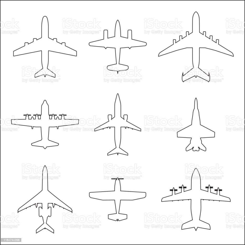 Plane Outline Icon Set Airplane Silhouettes Vector Illustration Stock Illustration Download Image Now Istock