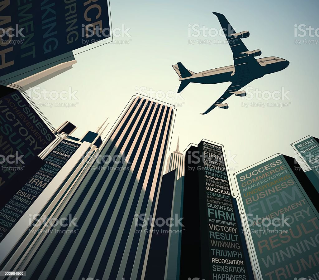 Plane Over the City Business Concept vector art illustration