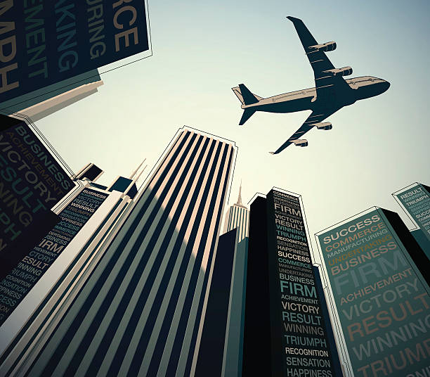 plane over the city business concept - business travel stock illustrations, clip art, cartoons, & icons