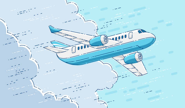 Plane passenger airliner flying in the sky surrounded by clouds, beautiful thin line 3d vector illustration. Plane passenger airliner flying in the sky surrounded by clouds, beautiful thin line 3d vector illustration. airport backgrounds stock illustrations