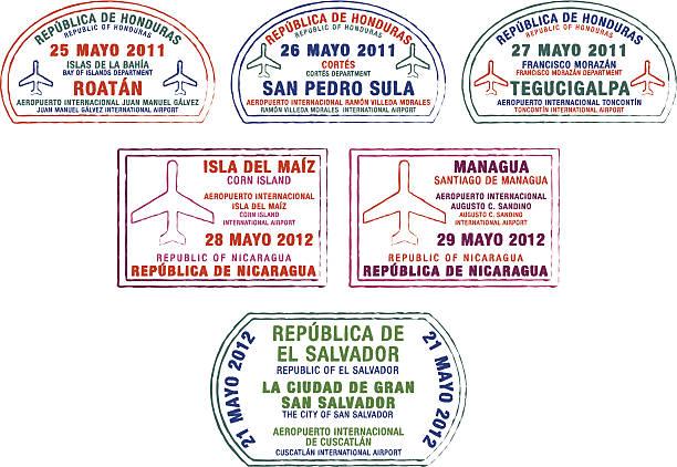 flugzeug passstempeln - managua stock-grafiken, -clipart, -cartoons und -symbole