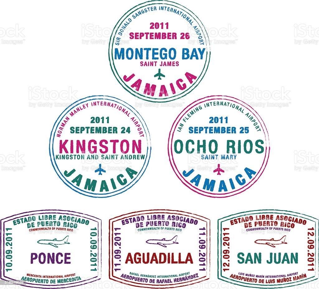 Plane Passport Stamps vector art illustration