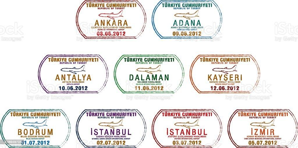 Plane Passport Stamps vektör sanat illüstrasyonu