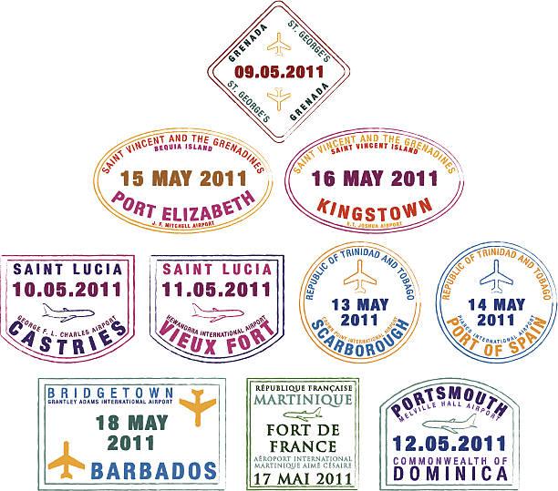 bildbanksillustrationer, clip art samt tecknat material och ikoner med plane passport stamps - lucia