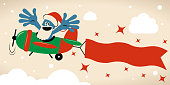 Blue Little Guy Characters Full Length Vector art illustration.Copy Space. Plane pilot with santa hat and beard flying on airplane with banner (poster).