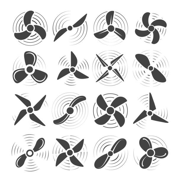 Plane propellers set Plane propellers. Aircraft propeller icons, circle wind fan rotating prop image, vector old airplane airscrew set isolated on white background blade stock illustrations