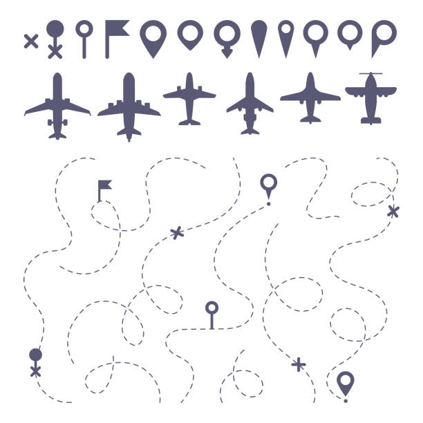 Plane route line. Planes dotted line trail directions, flight pathway direction map builder and airplane icons vector set Plane route line. Planes dotted line trail directions, flight pathway direction map builder and airplane. Dot dashes travel flights destination track isolated icons vector set airport patterns stock illustrations