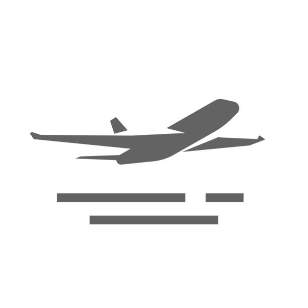 Plane take off icon vector shape or airplane jet silhouette takeoff symbol round black and white monochrome flat airport pictogram isolated on white background Plane take off icon vector shape or airplane jet silhouette takeoff symbol round black and white monochrome flat airport pictogram isolated on white background clipart airport silhouettes stock illustrations