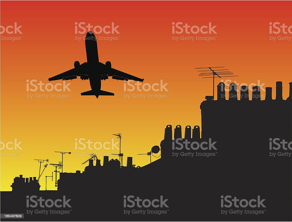Plane takeoff over houses royalty-free stock vector art