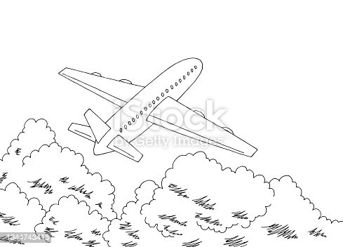 istock Plane takes off above the clouds graphic black white sketch illustration vector 1344743413