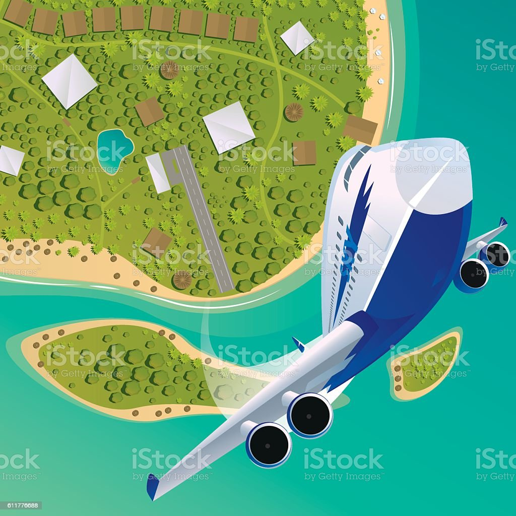 Plane takes off upwards from a tropical island vector art illustration
