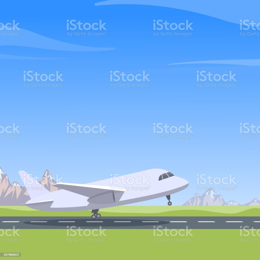 Plane takes off vector art illustration