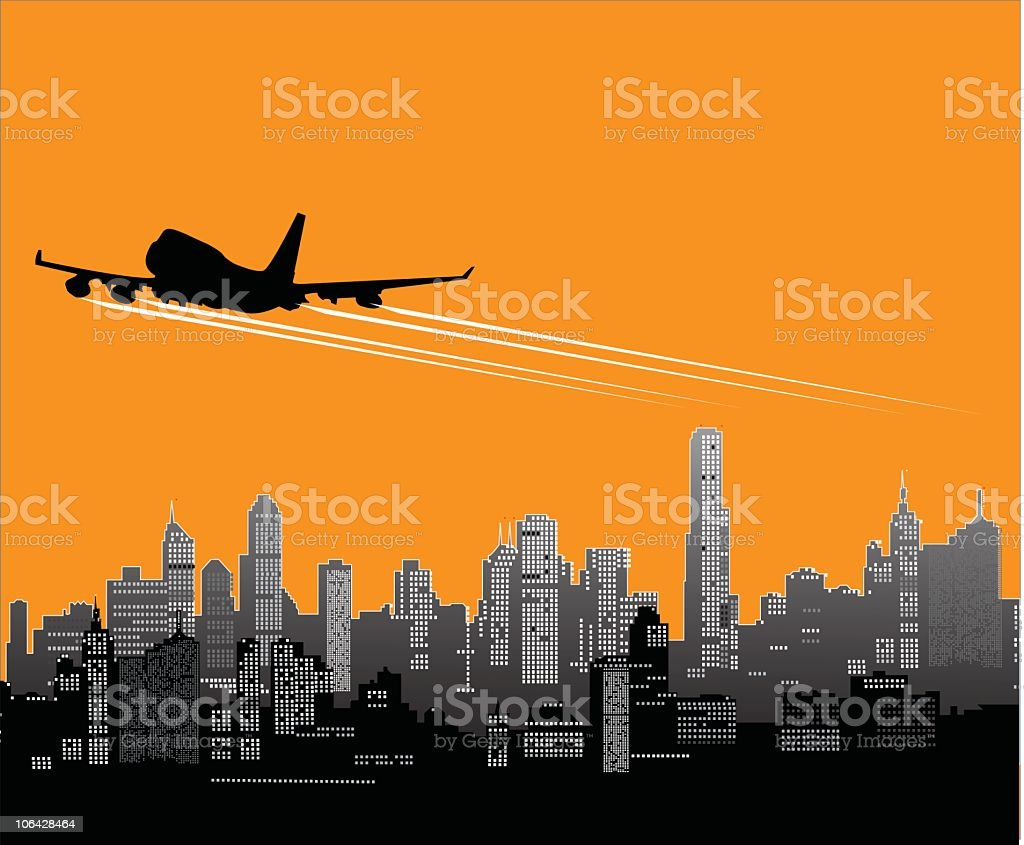 Plane taking off against an orange and gray cityscape vector art illustration