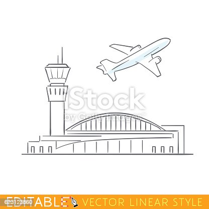 istock Plane taking off at the airport. Airbus departs. Outline sketch 623123860