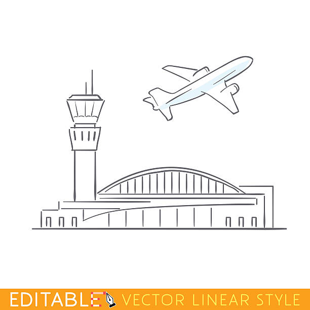 Plane taking off at the airport. Airbus departs. Outline sketch Plane taking off at the airport. Airbus departs. Outline sketch illustration. airport drawings stock illustrations