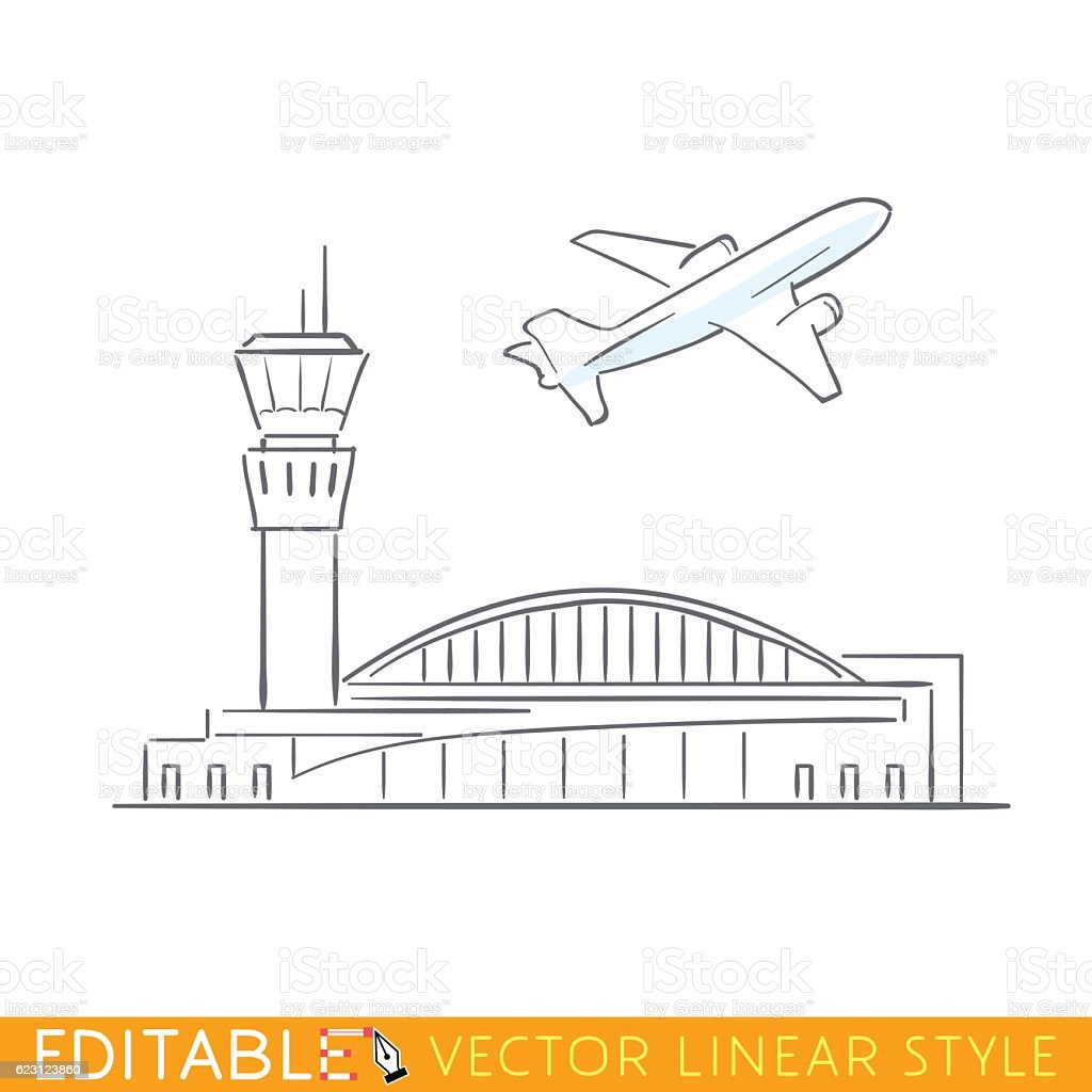 Plane taking off at the airport. Airbus departs. Outline sketch vector art illustration