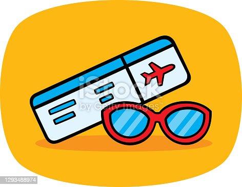 istock Plane Ticket Sunglasses Doodle 1293488974