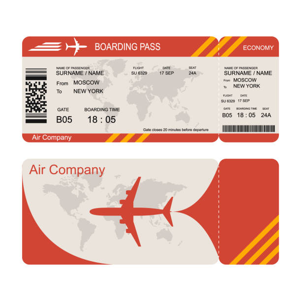 Plane ticket template. Air economy flight. Plane ticket template. Air economy flight. Red design. Boarding Pass to take off the aircraft. Vector illustration isolated on white background airplane ticket stock illustrations