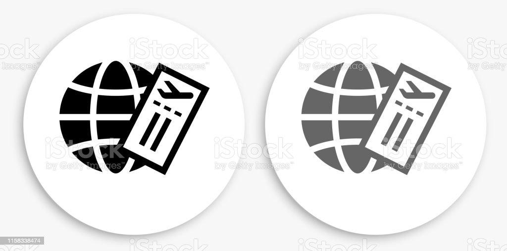 비행기 티켓 및 글로브 흑백 라운드 아이콘 - 로열티 프리 개념 기호 벡터 아트