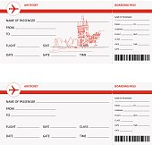 Blank plane tickets for trip to Prague isolated vector illustration