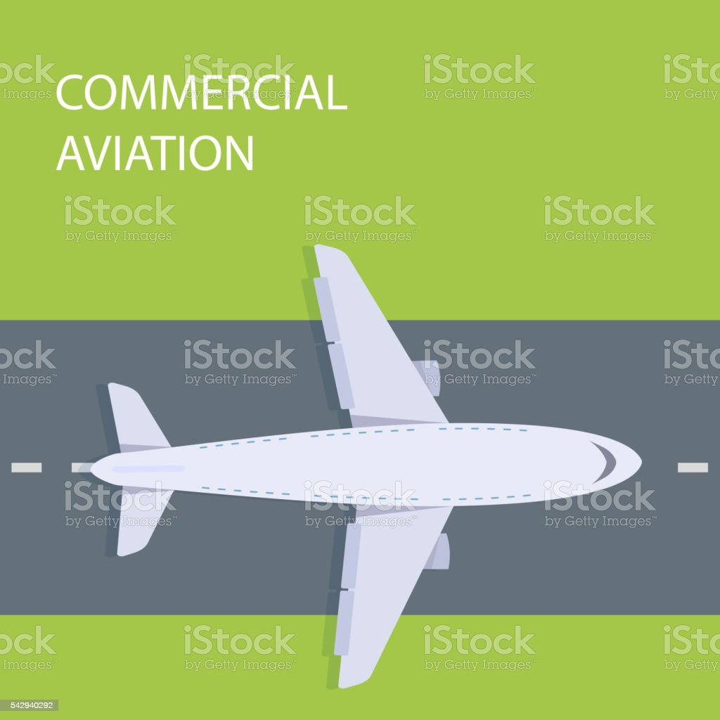 Plane top view vector art illustration