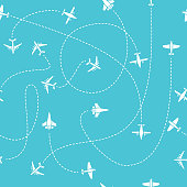 Plane travel seamless pattern. World travelling blue endless vector background with dashed path lines. Air transportation illustration