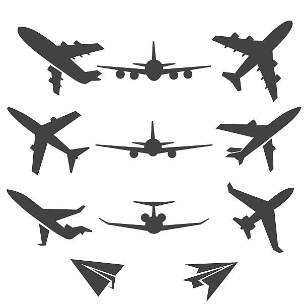 Plane vector icons Plane icons. Black plane pictograms on white background. Vector illustration airport clipart stock illustrations