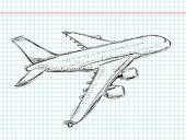 Hand drawing sketchy plane illustration...
