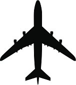 Airport symbol, or plane silhouette from above.