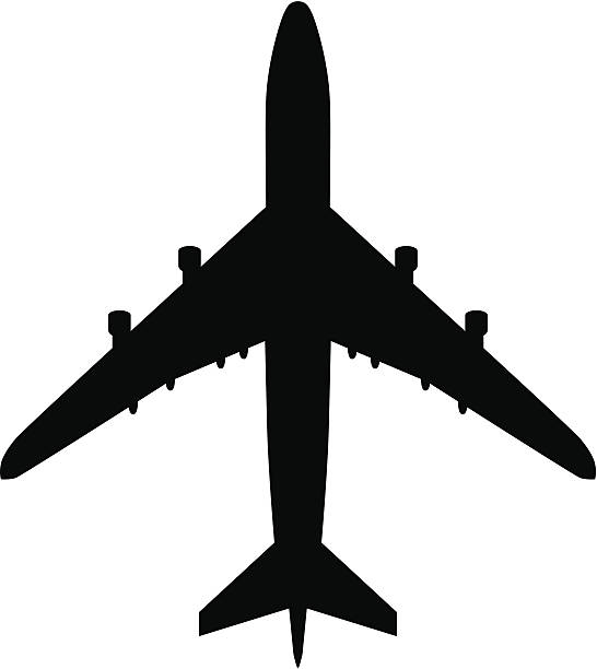 Plane Airport symbol, or plane silhouette from above. focus on shadow stock illustrations