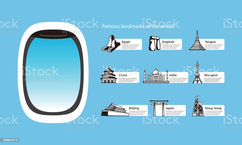 plane window and landmarks of the world, vector illustration vector art illustration