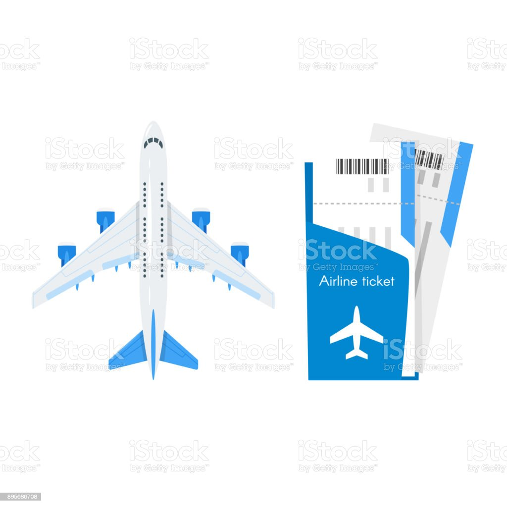 Plane With Airline Tickets Stock Illustration - Download Image Now - iStock