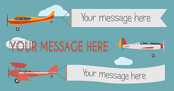 Plane with banner vector art illustration