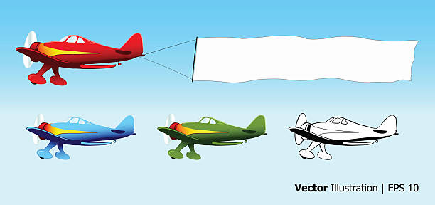 Plane with blank sky banner vector art illustration