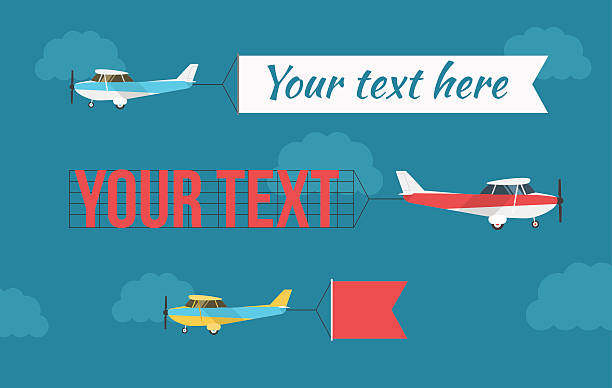 Plane with fly banners vector art illustration