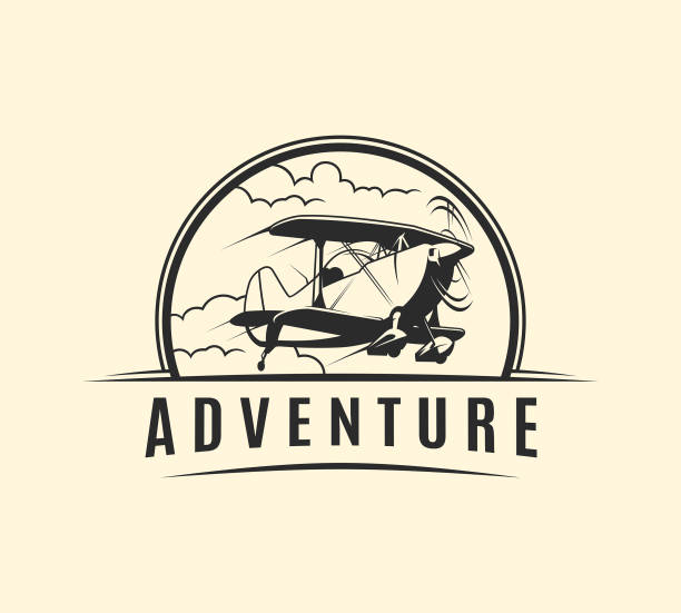 Plane with propeller taking off in clouds - outline vector emblem Plane with propeller taking off in clouds - outline cut out vector emblem adventure silhouettes stock illustrations