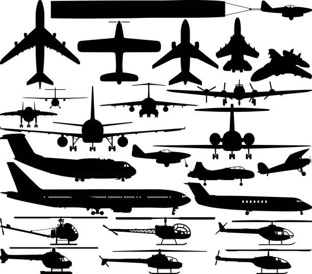 Planes and Helicopters Planes and helicopters. private airplane stock illustrations